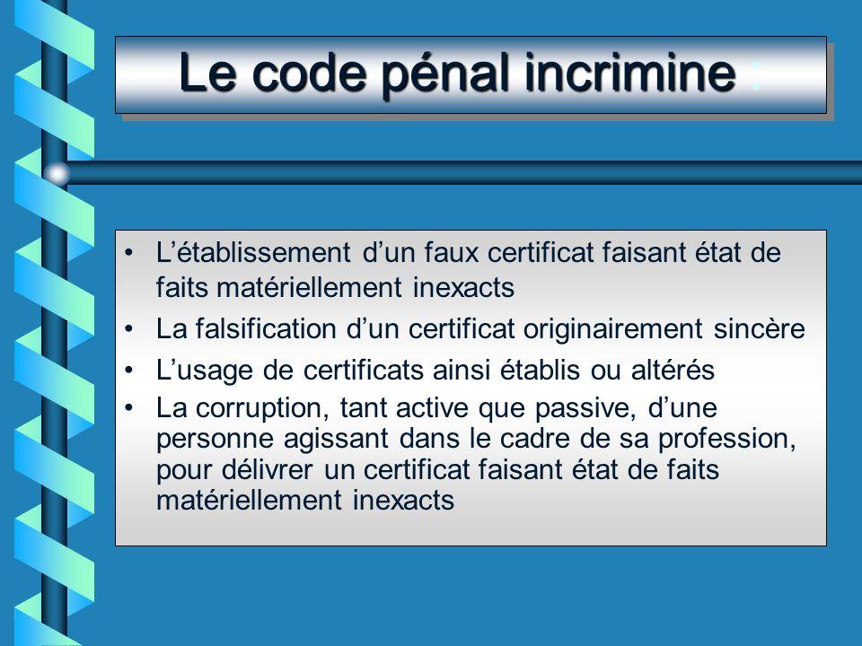 Le code pénal incrimine :