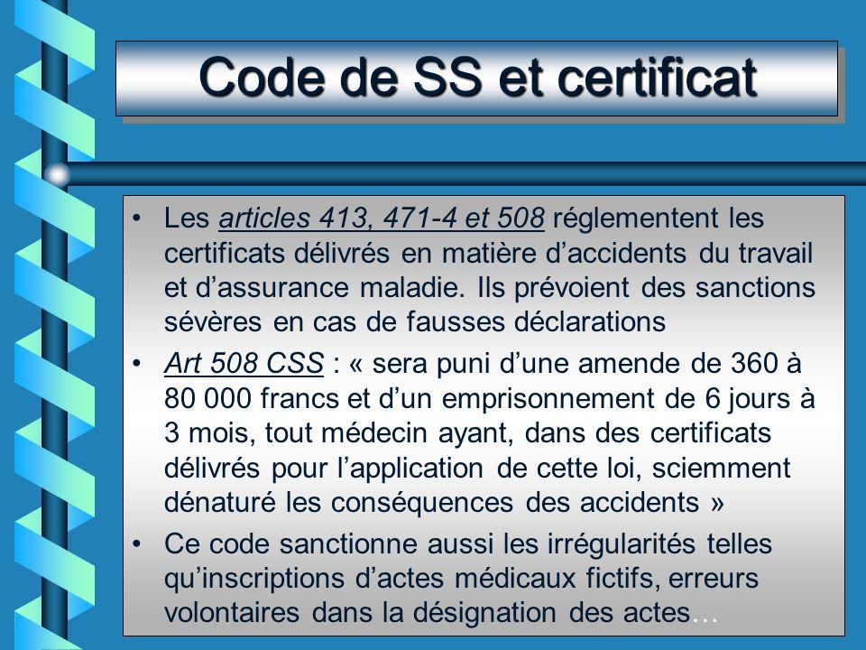 Code de SS et certificat