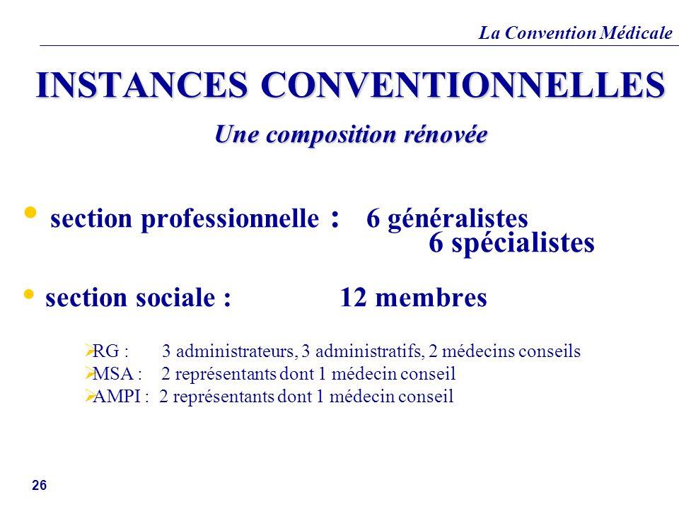 INSTANCES CONVENTIONNELLES Une composition rénovée