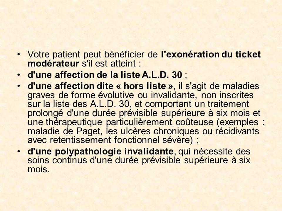 Votre patient peut bénéficier de l exonération du ticket modérateur s il est atteint :
