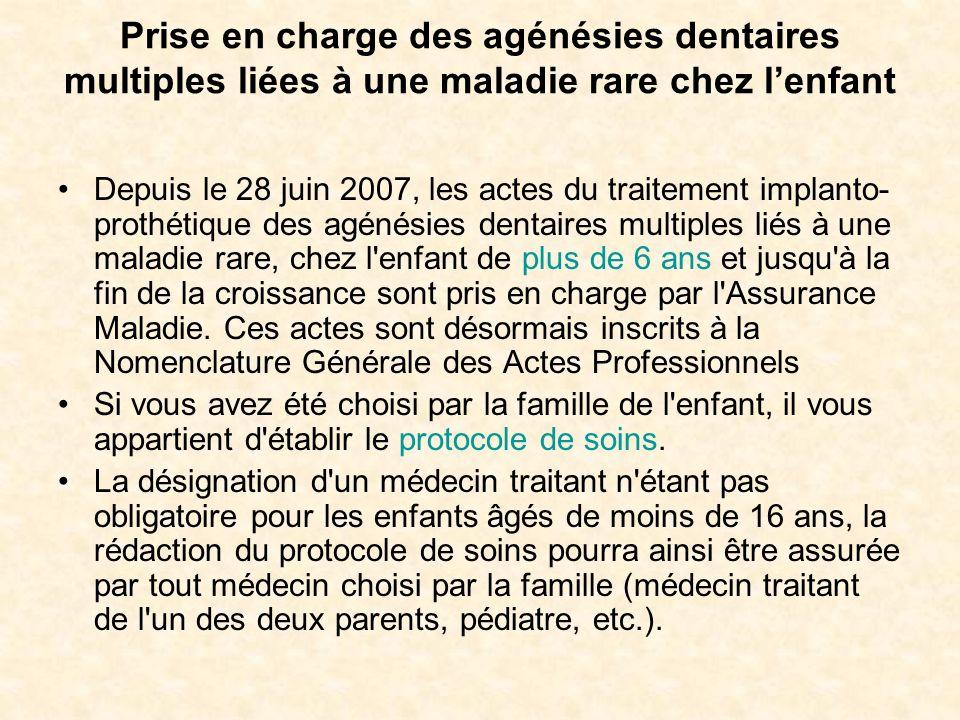 Prise en charge des agénésies dentaires multiples liées à une maladie rare chez l'enfant