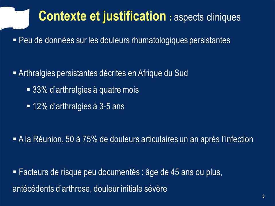 Contexte et justification : aspects cliniques