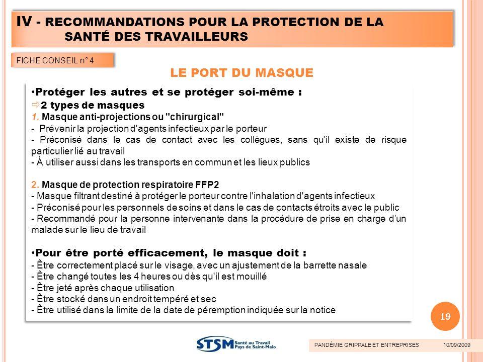 IV - RECOMMANDATIONS POUR LA PROTECTION DE LA SANTÉ DES TRAVAILLEURS