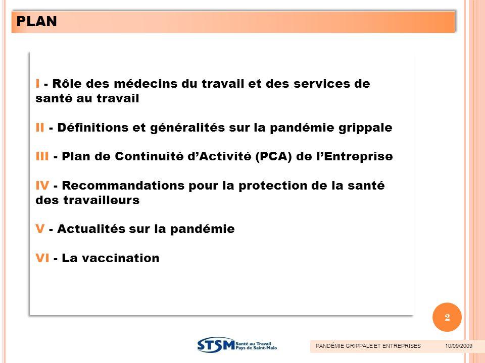 PLAN I - Rôle des médecins du travail et des services de santé au travail. II - Définitions et généralités sur la pandémie grippale.