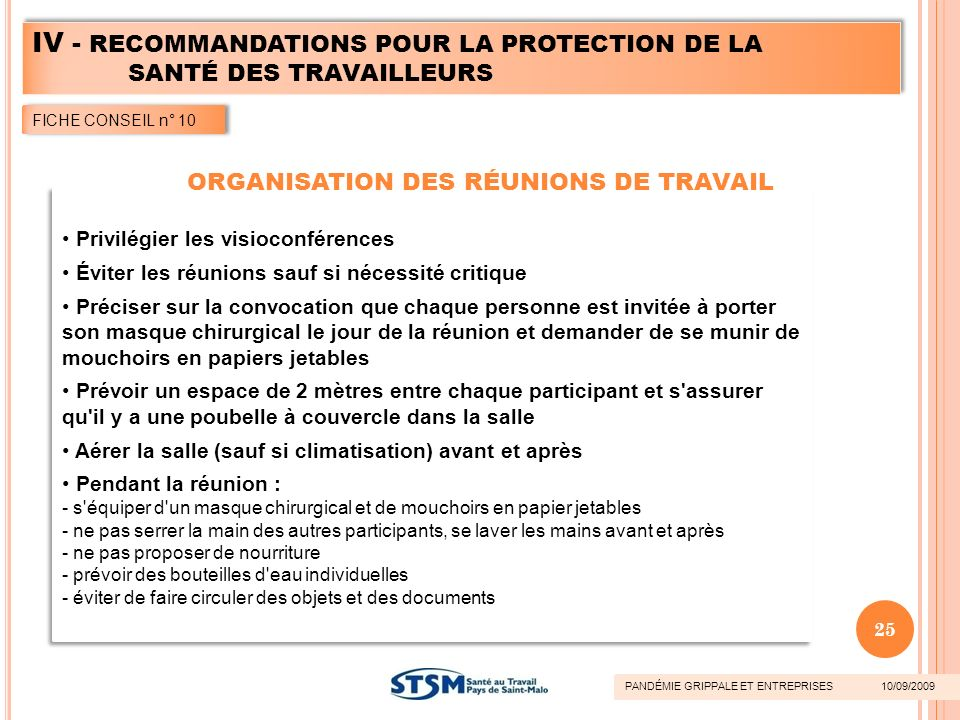 ORGANISATION DES RÉUNIONS DE TRAVAIL