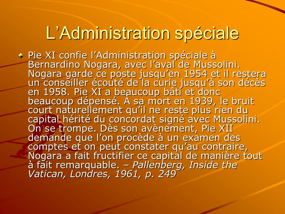 L'Administration spéciale