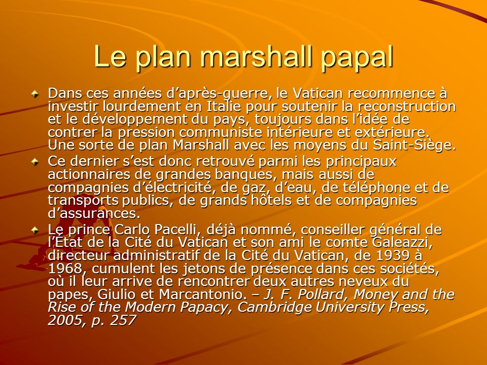 Le plan marshall papal
