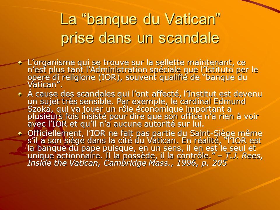 La banque du Vatican prise dans un scandale