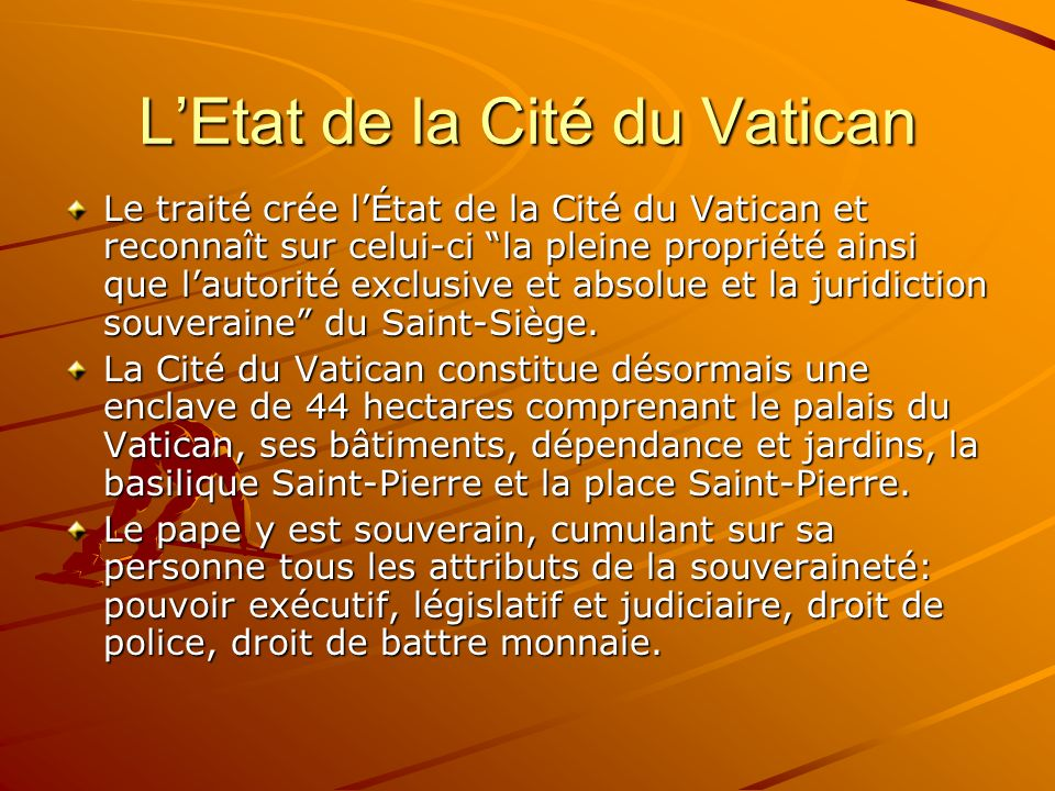 L'Etat de la Cité du Vatican