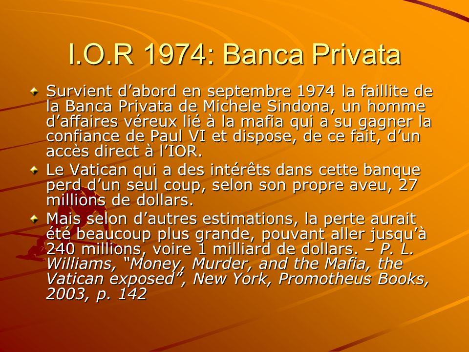 I.O.R 1974: Banca Privata