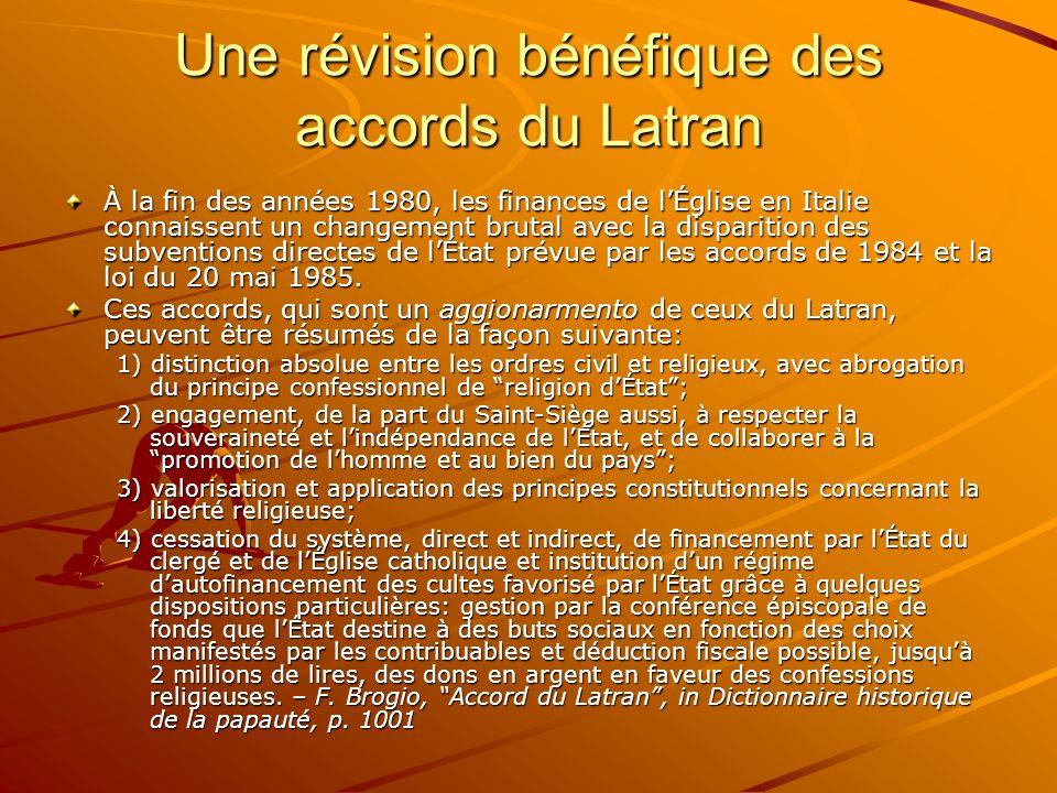 Une révision bénéfique des accords du Latran