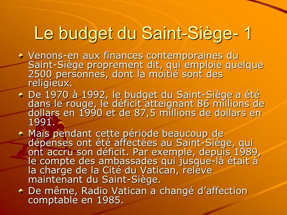 Le budget du Saint-Siège- 1