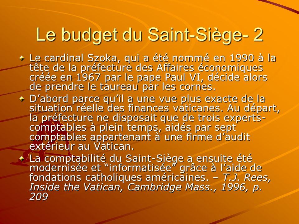 Le budget du Saint-Siège- 2