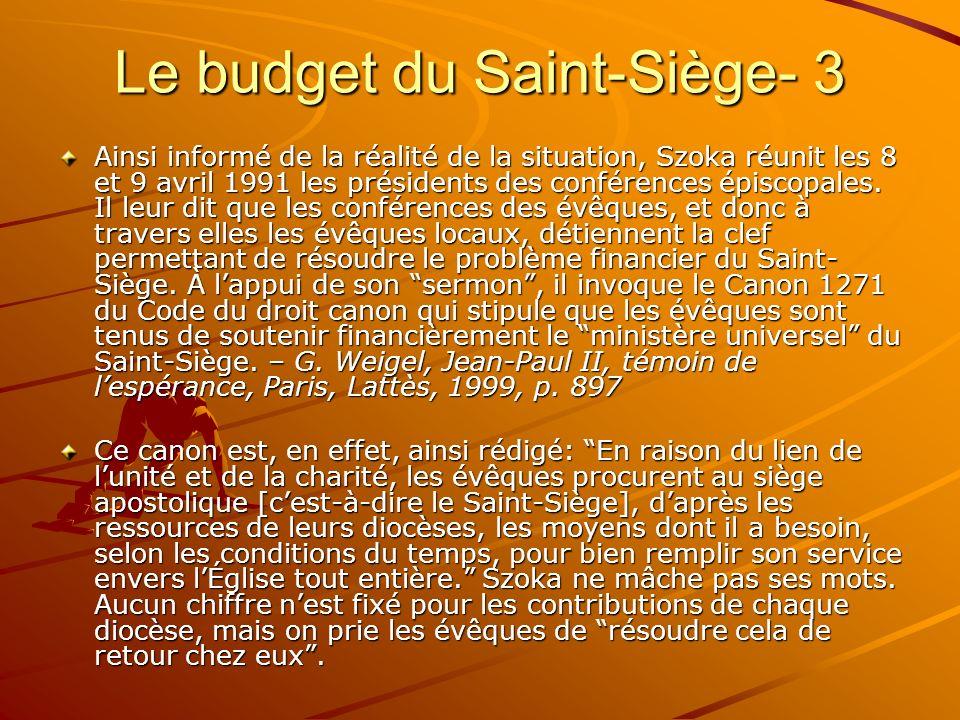 Le budget du Saint-Siège- 3