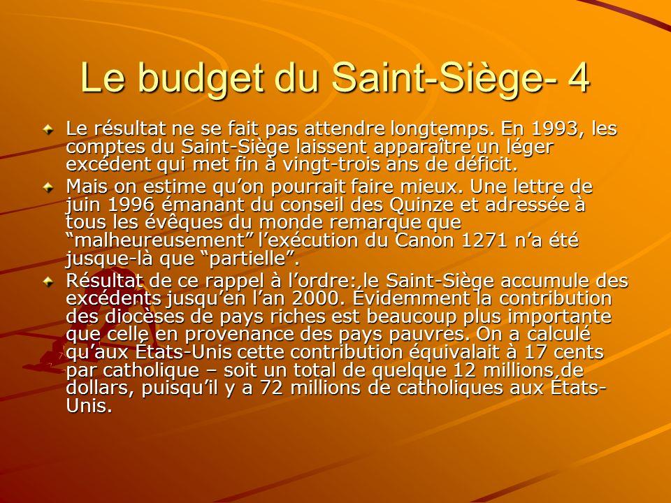 Le budget du Saint-Siège- 4