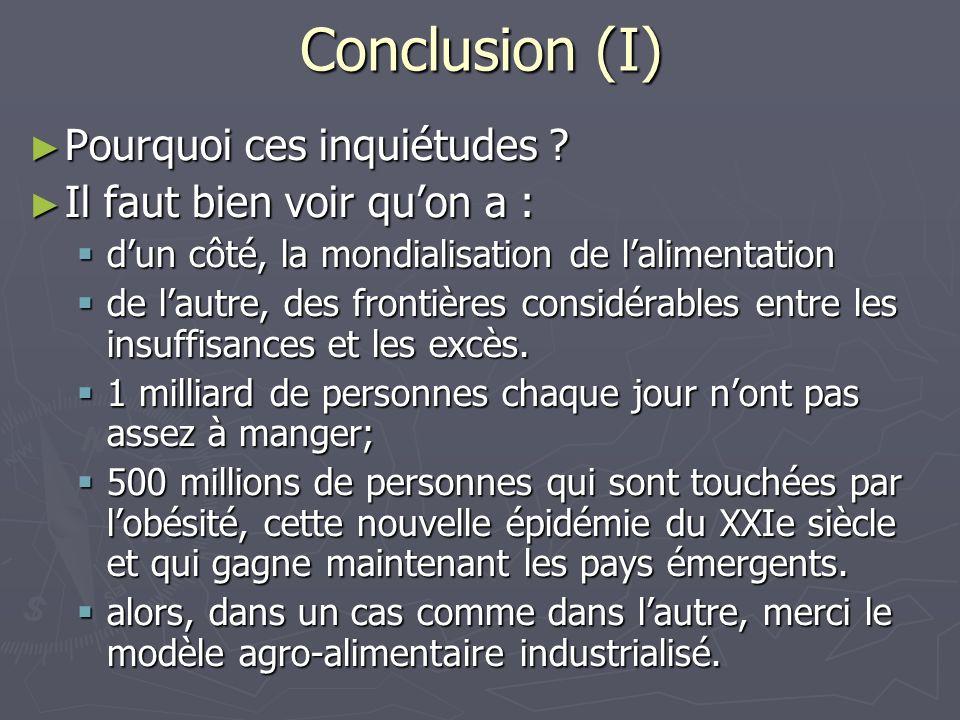 Conclusion (I) Pourquoi ces inquiétudes Il faut bien voir qu'on a :