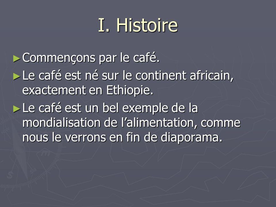 I. Histoire Commençons par le café.