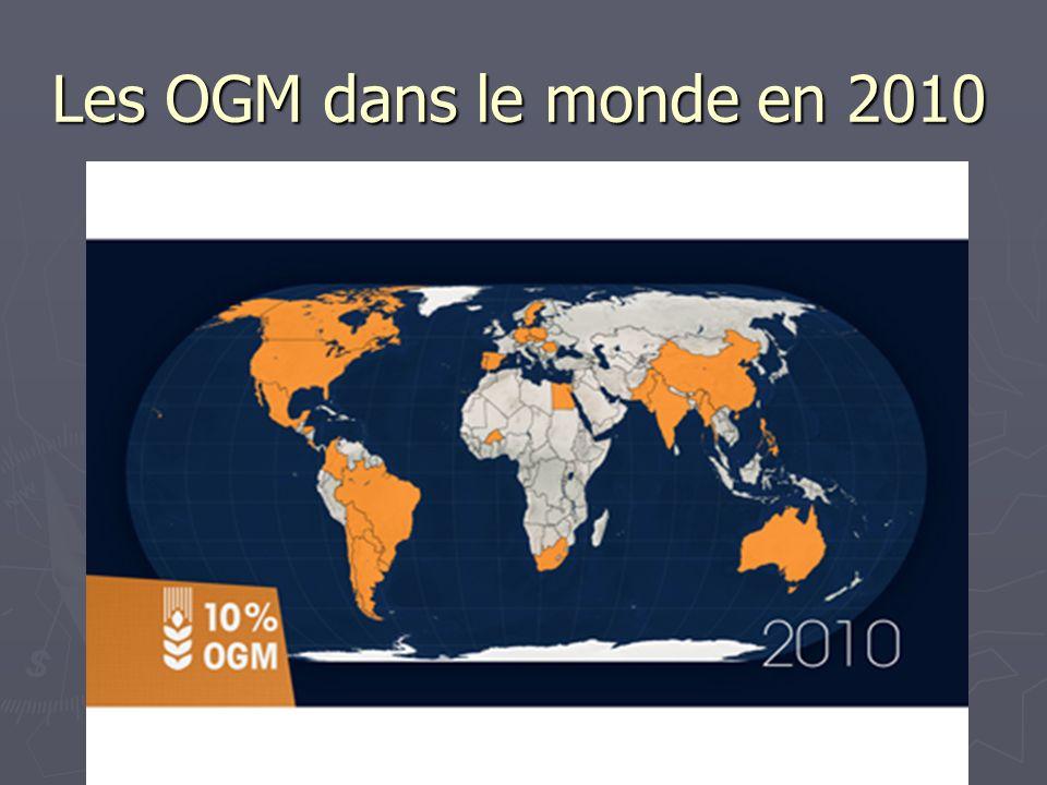 Les OGM dans le monde en 2010