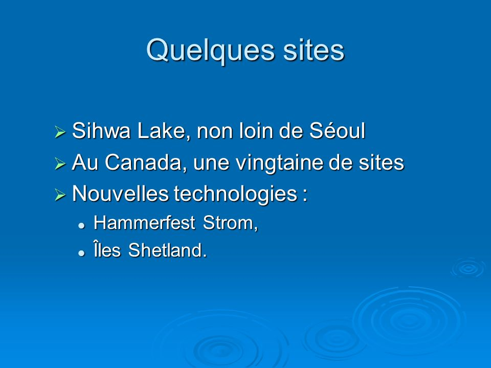 Quelques sites Sihwa Lake, non loin de Séoul
