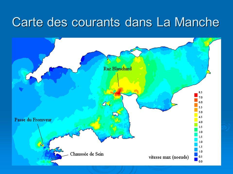 Carte des courants dans La Manche