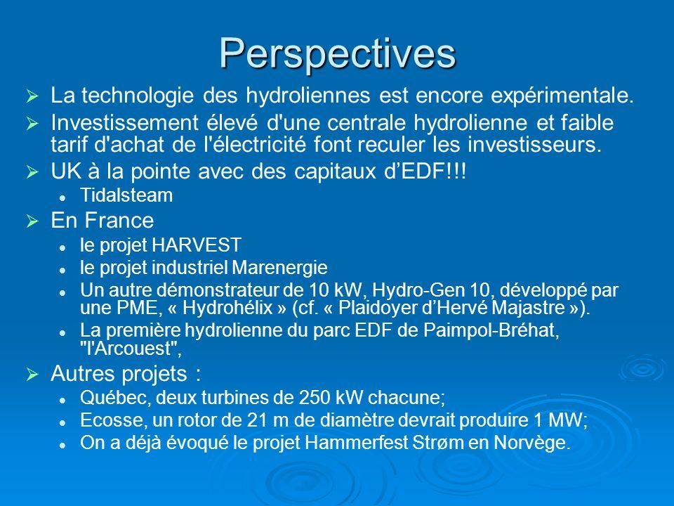Perspectives La technologie des hydroliennes est encore expérimentale.