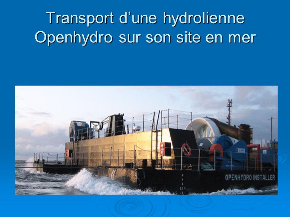 Transport d'une hydrolienne Openhydro sur son site en mer