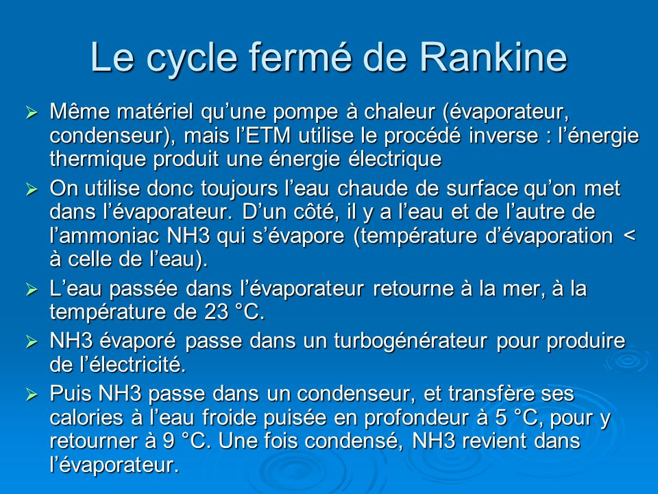 Le cycle fermé de Rankine