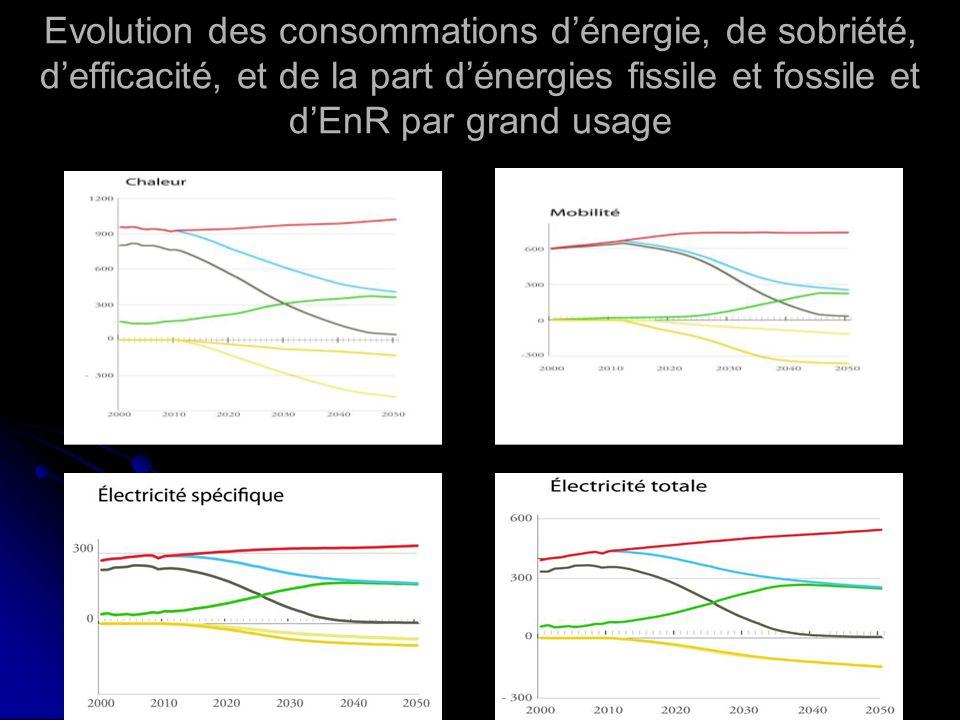 Evolution des consommations d'énergie, de sobriété, d'efficacité, et de la part d'énergies fissile et fossile et d'EnR par grand usage