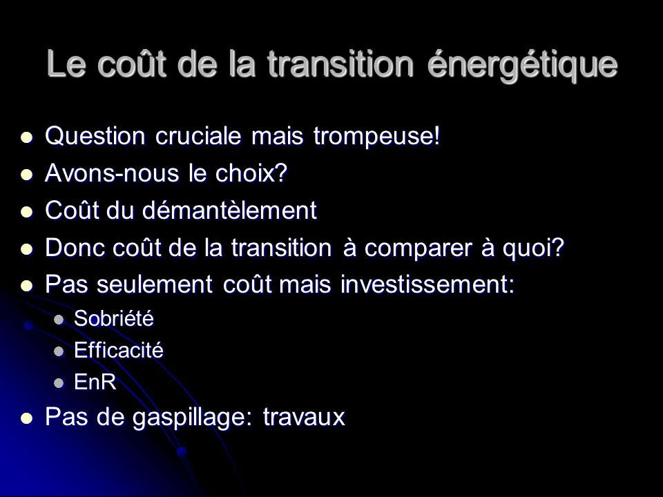 Le coût de la transition énergétique