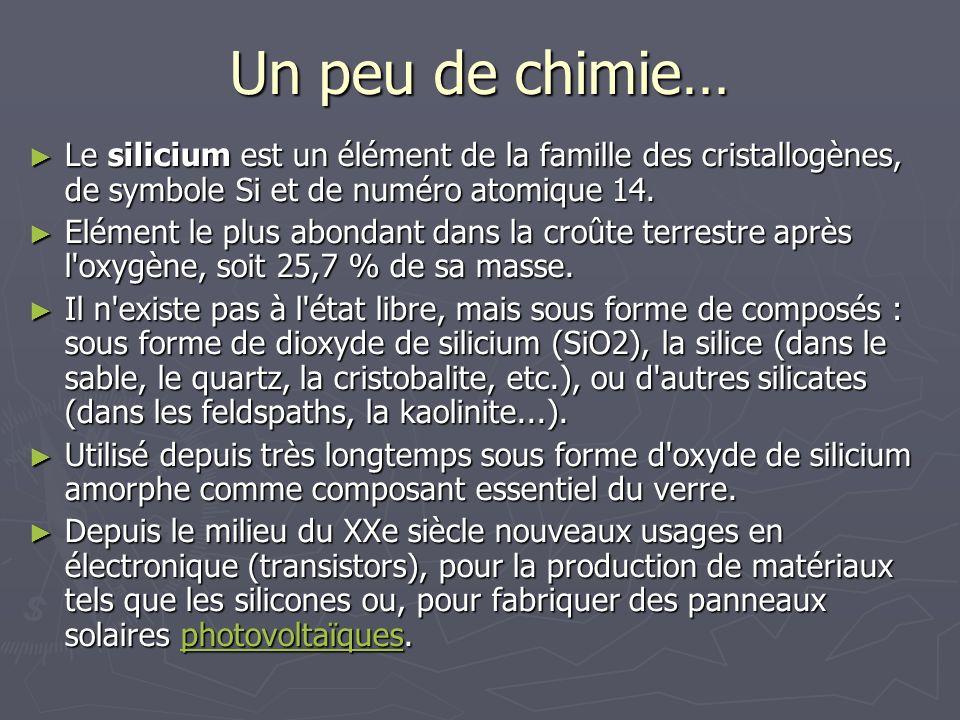 Un peu de chimie… Le silicium est un élément de la famille des cristallogènes, de symbole Si et de numéro atomique 14.