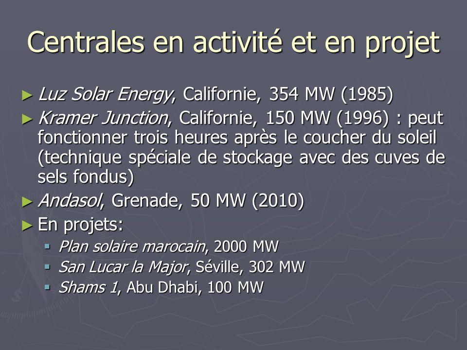 Centrales en activité et en projet