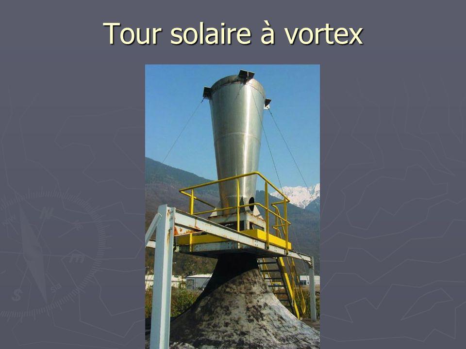 Tour solaire à vortex Ici une installation expérimentale en Savoie d'une petite tour à vortex.