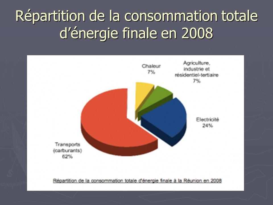 Répartition de la consommation totale d'énergie finale en 2008