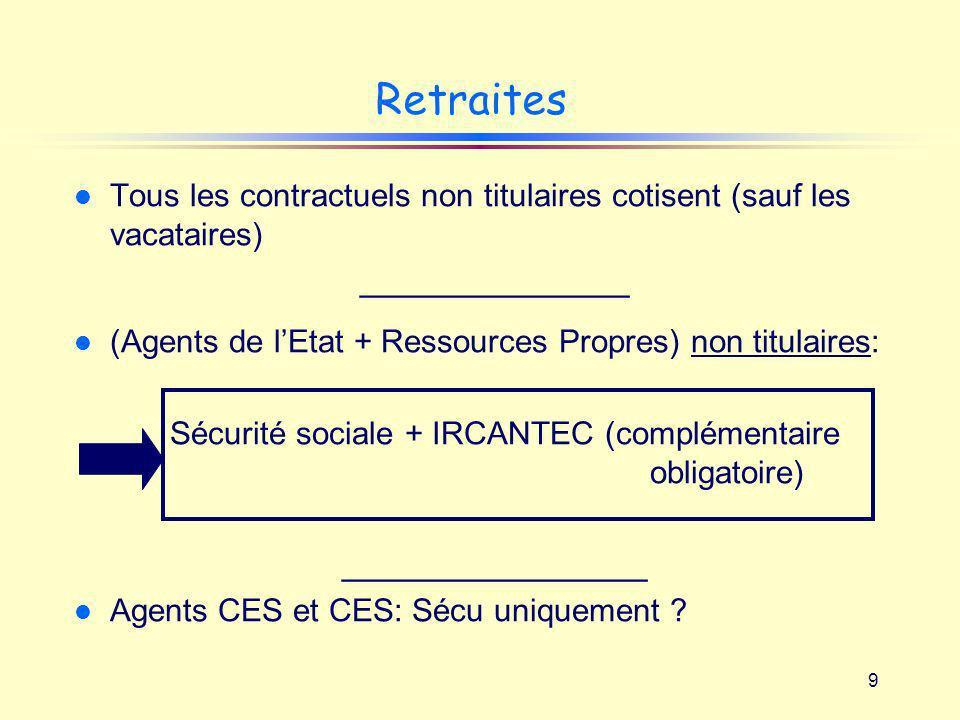 Retraites Tous les contractuels non titulaires cotisent (sauf les vacataires) _______________.