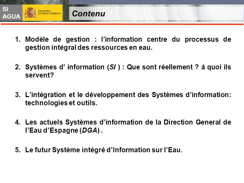 Contenu Modèle de gestion : l'information centre du processus de gestion intégral des ressources en eau.
