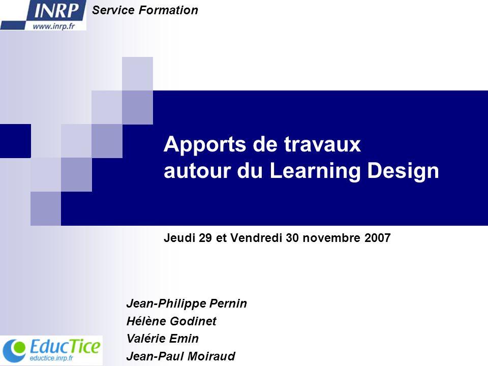 Apports de travaux autour du Learning Design