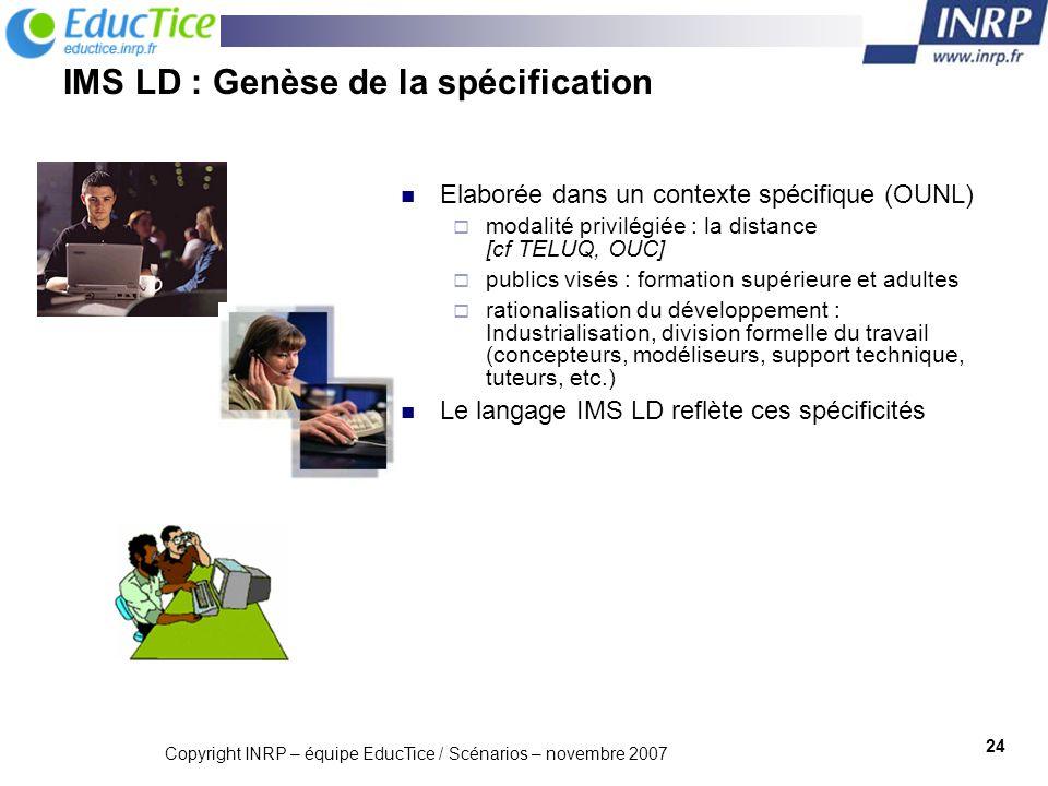 IMS LD : Genèse de la spécification