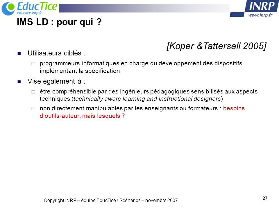 Copyright INRP – équipe EducTice / Scénarios – novembre 2007