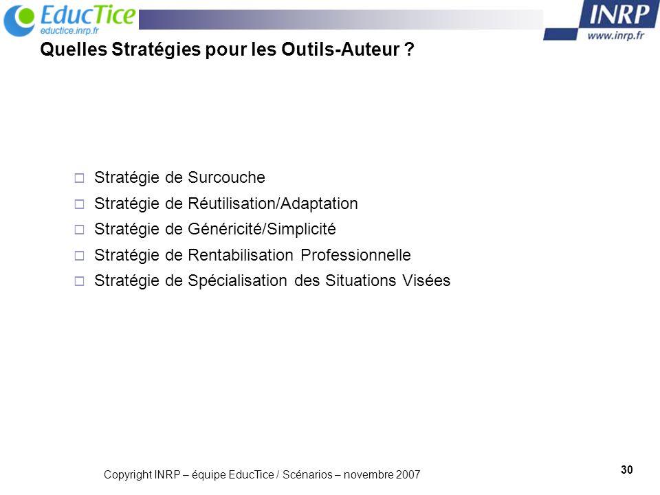 Quelles Stratégies pour les Outils-Auteur