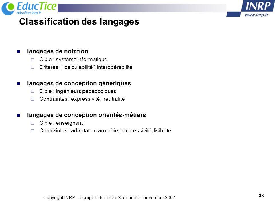 Classification des langages