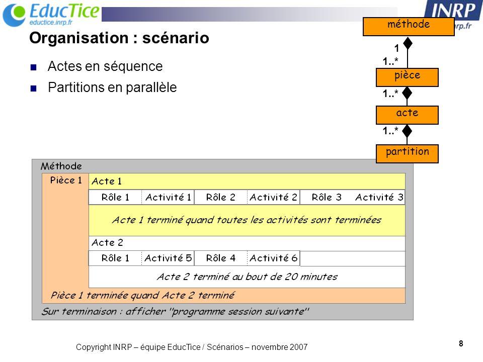 Organisation : scénario