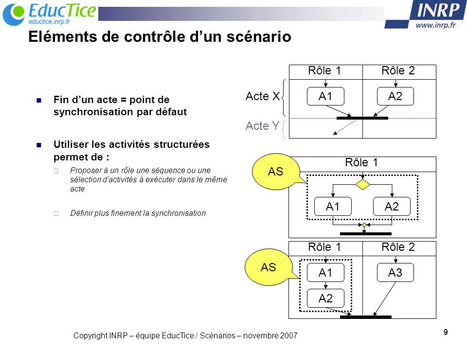 Eléments de contrôle d'un scénario