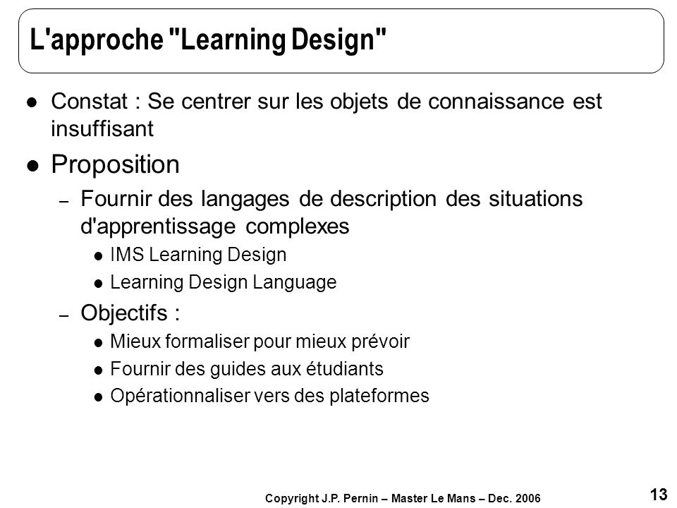 L approche Learning Design