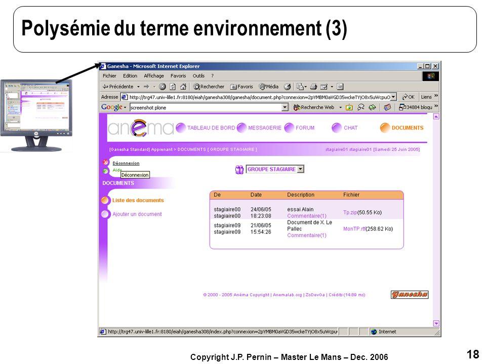Polysémie du terme environnement (3)