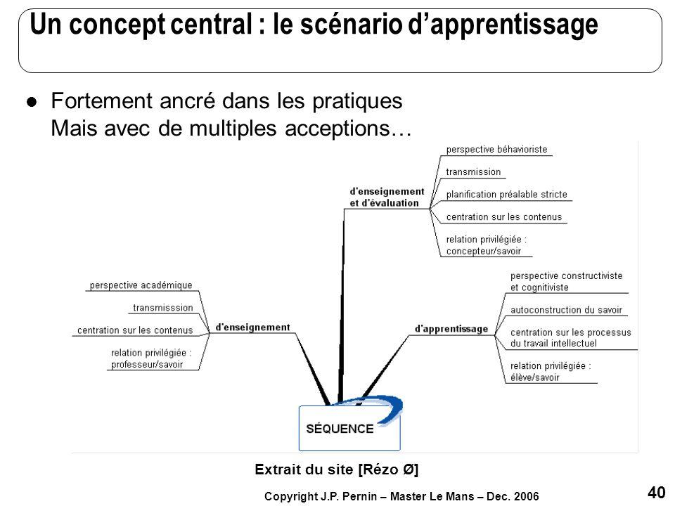 Un concept central : le scénario d'apprentissage