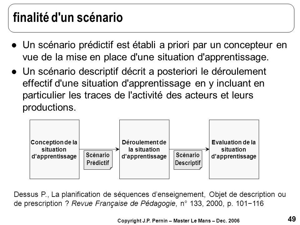 finalité d un scénario Un scénario prédictif est établi a priori par un concepteur en vue de la mise en place d une situation d apprentissage.