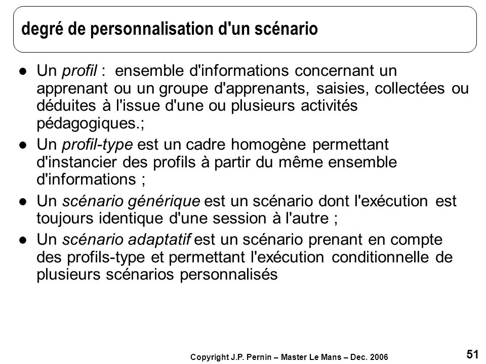 degré de personnalisation d un scénario