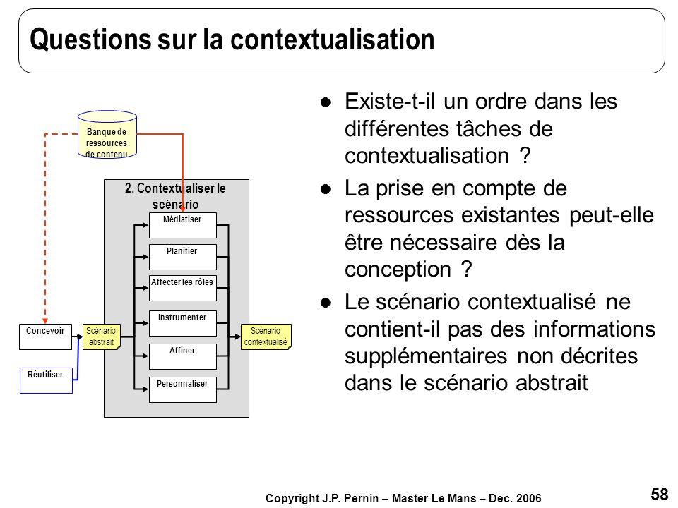 Questions sur la contextualisation
