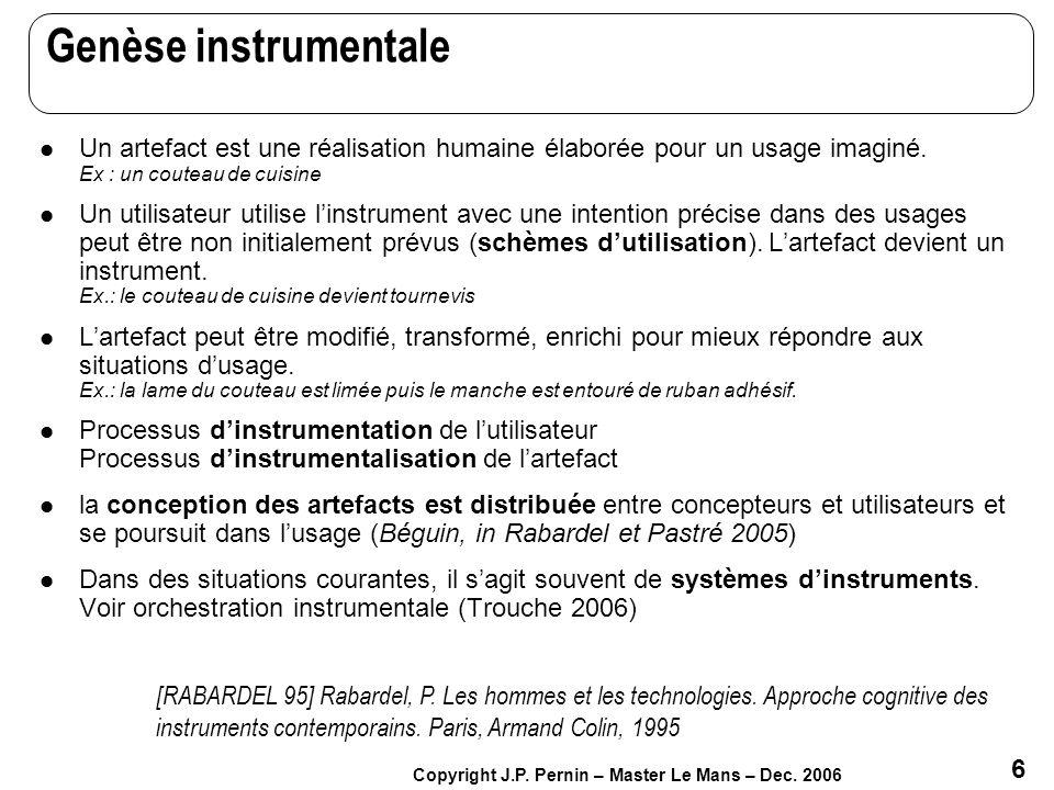 Genèse instrumentale Un artefact est une réalisation humaine élaborée pour un usage imaginé. Ex : un couteau de cuisine.