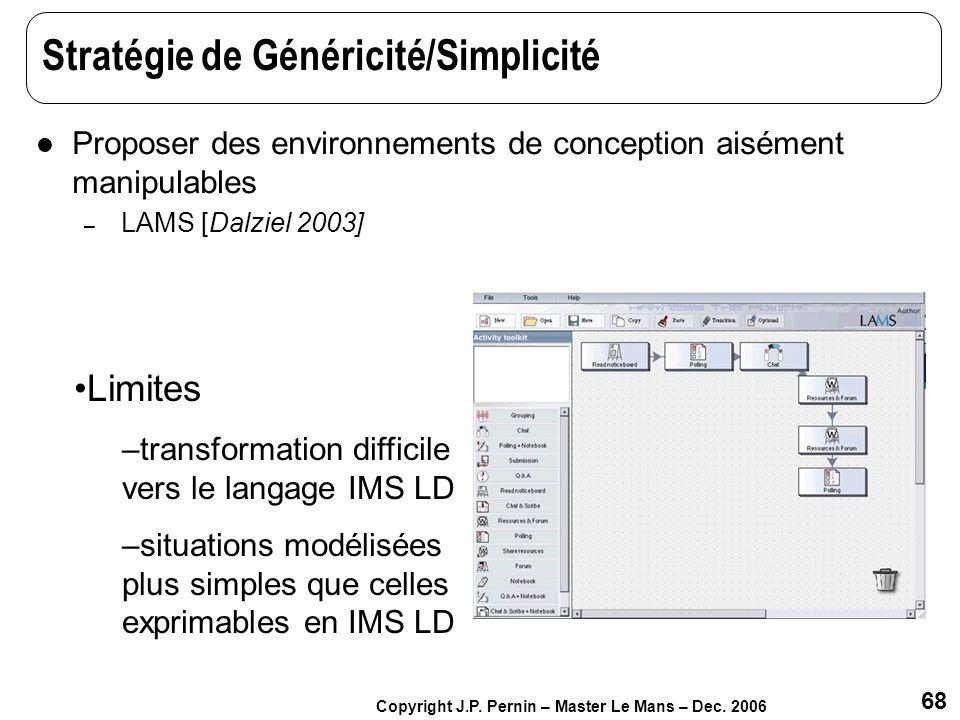 Stratégie de Généricité/Simplicité